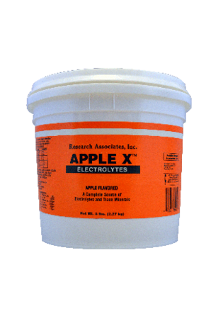 A orange bucket fill with apple the best electrolyte/trace mineral value for your horse.