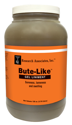 A jar container similar to a peanut butter jar. The jar is fill with Bute Like Gel Liniment which is great for the temporary relief of minor soreness and stiffness due to overexertion.