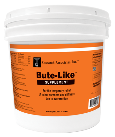 An orange bucket fill with Bute Like Supplement great For the temporary relief of minor soreness and stiffness due to overexertion.